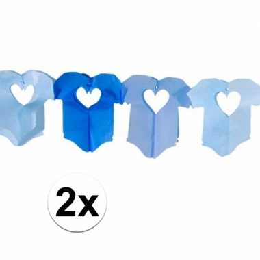 Geboorte 2x baby blauwe rompertjes slinger