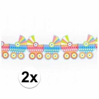 Geboorte 2x babyshower versiering kinderwagen slingers