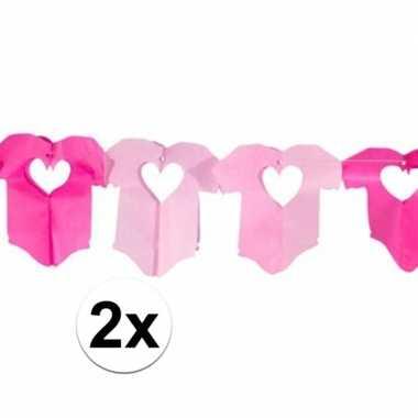 Geboorte 2x papieren slinger rompertje meisje