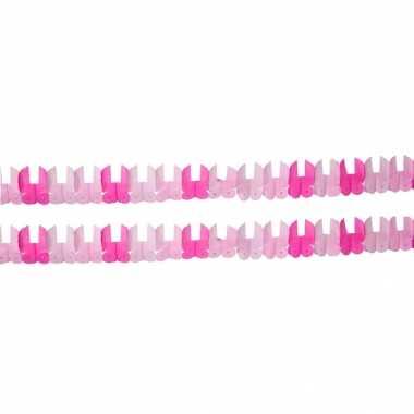 Geboorte set van 2x stuks papieren roze slingers meisje geboren 6 meter