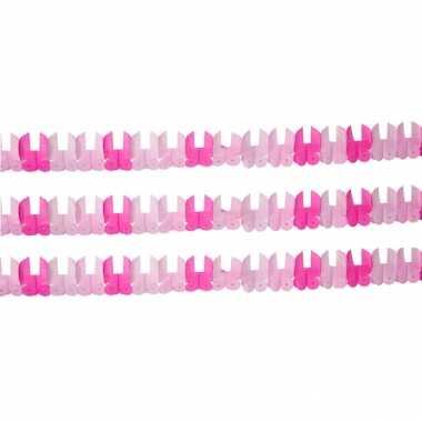 Geboorte set van 3x stuks papieren roze slingers meisje geboren 6 meter