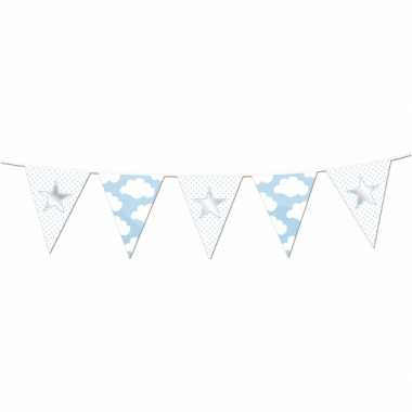 Geboorte  Vlaggenlijn blauw met wolken slinger