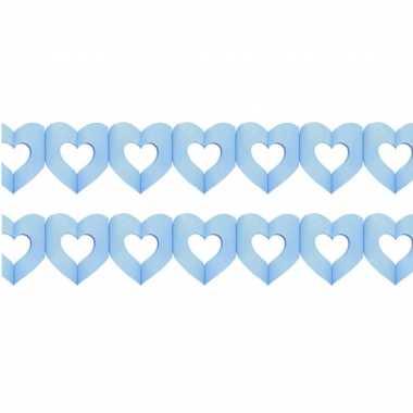 Set van 2x stuks geboorte feestartikelen jongens blauwe hartjes 3 meter slinger