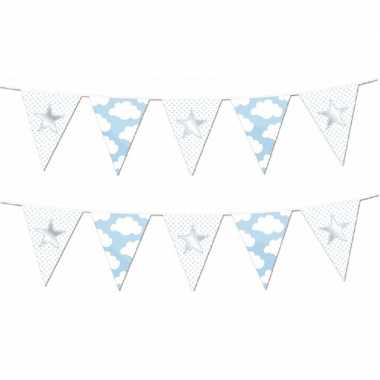 Set van 2x stuks vlaggenlijnen slingers geboorte jongen thema