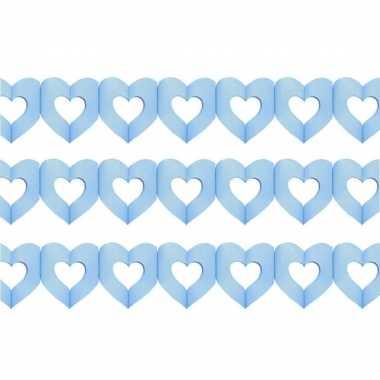 Set van 3x stuks geboorte feestartikelen jongens blauwe hartjes 3 meter slinger