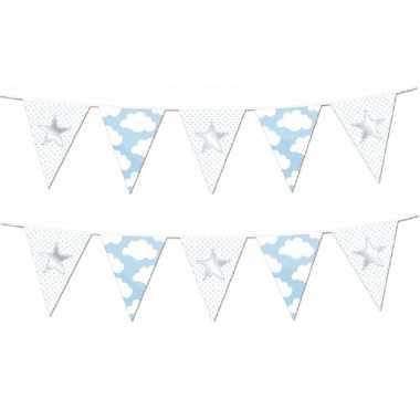 Set van 4x stuks vlaggenlijnen slingers geboorte jongen thema
